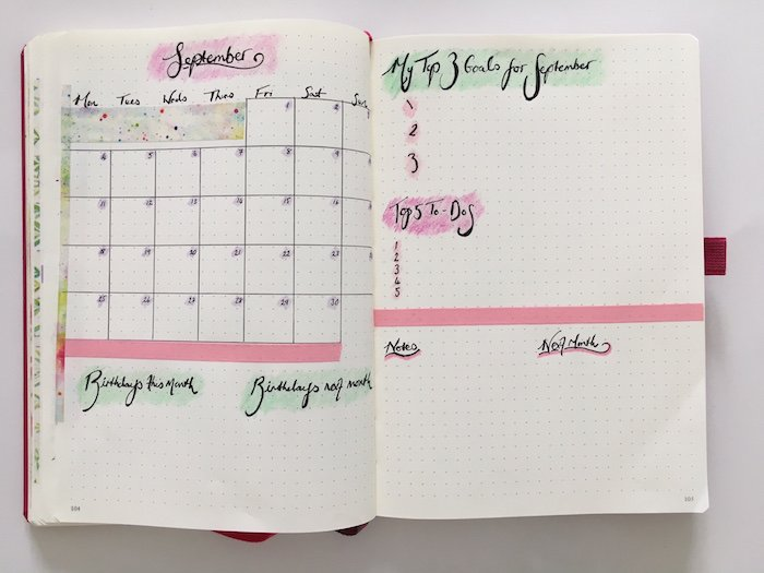 September Bullet Journal Overview