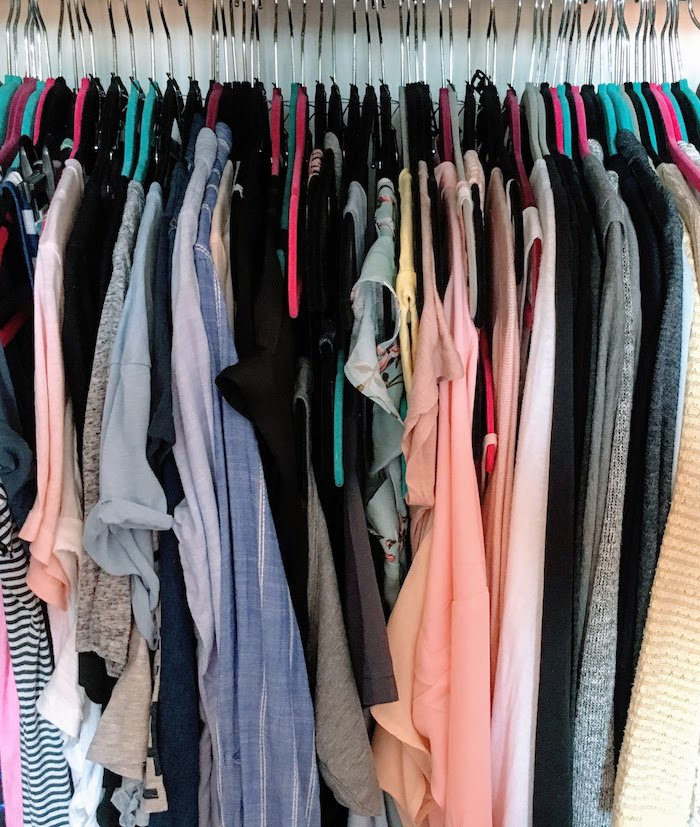 Skinny Hangers In Organized Wardrobe