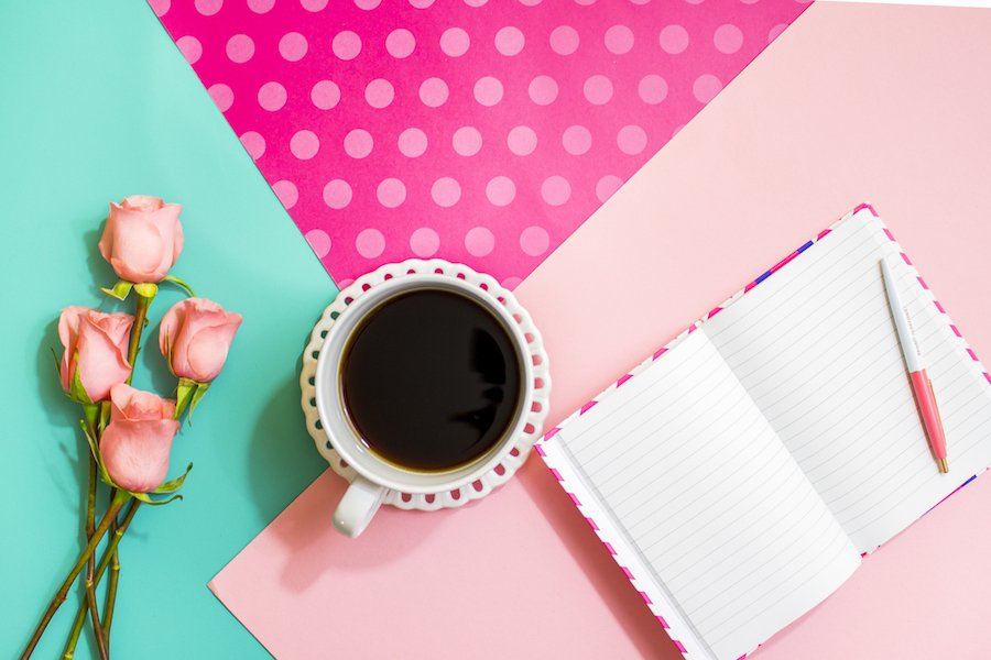 Writing Content For Your Blog Colourful Stationery With Coffee