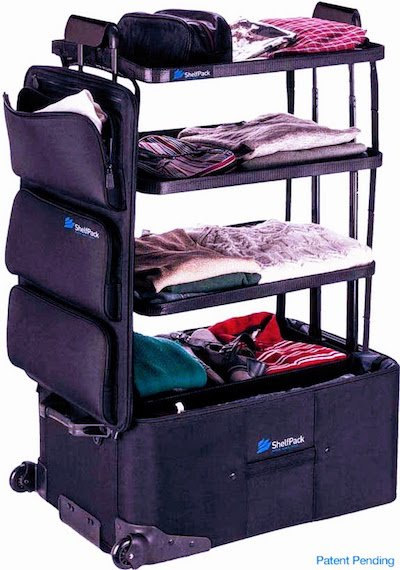 ShelfPack suitcase with integrated shelves