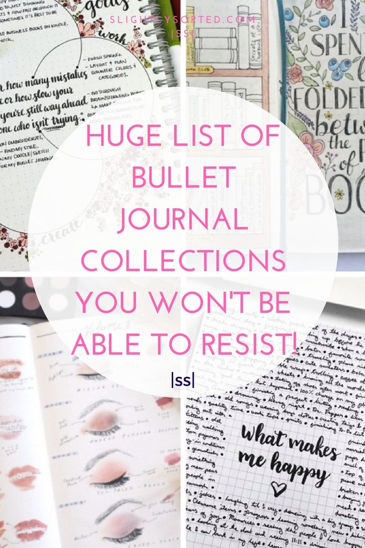 Huge list of bullet journal collection ideas