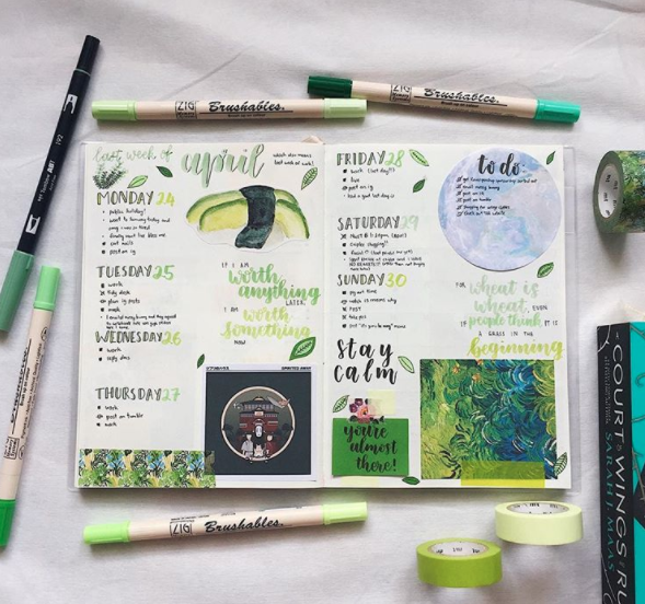 Bullet journal weekly layout ideas green