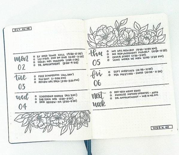 Bullet journal weekly spread ideas monochrome