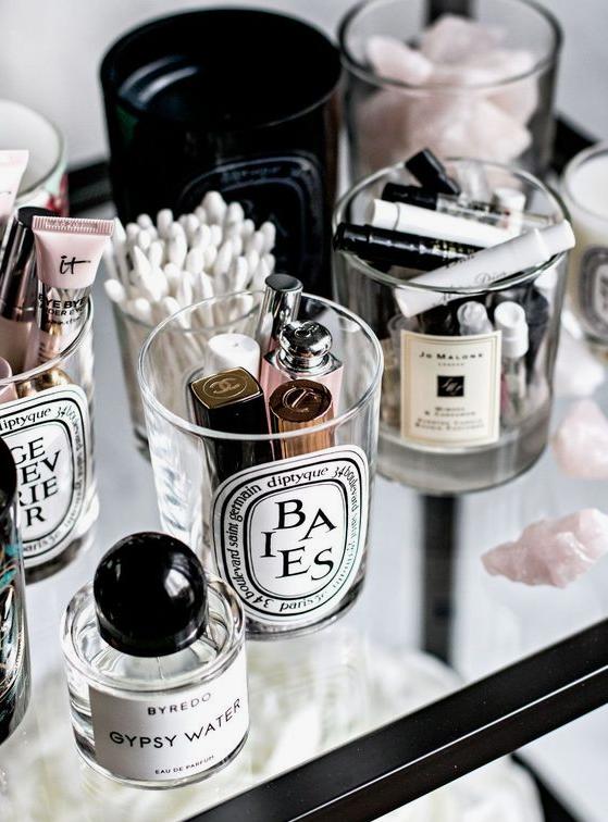 Makeup storage candle jars