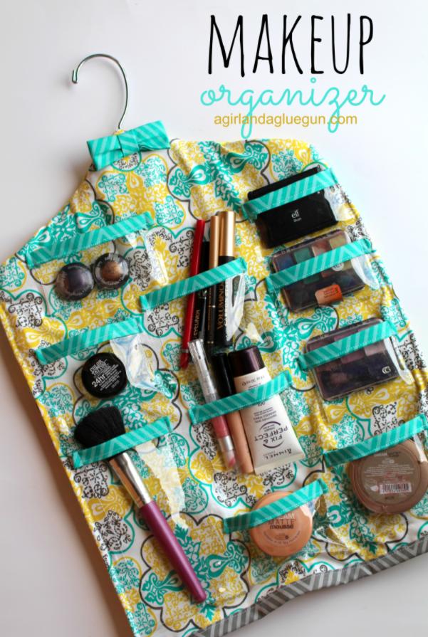 Makeup storage ideas hanging fabric organizer