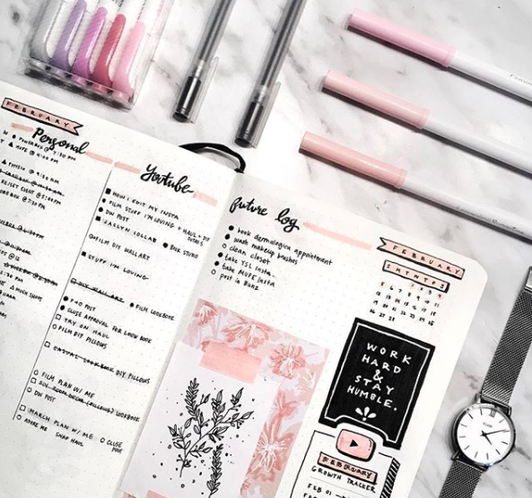 Pink Bullet Journal Spreads Floral