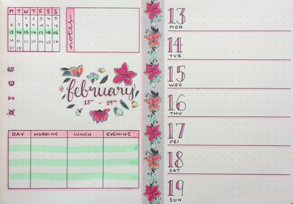 Pink Bullet Journal Spreads with Mint