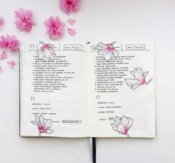 Pink Bullet Journal Spreads Magnolias