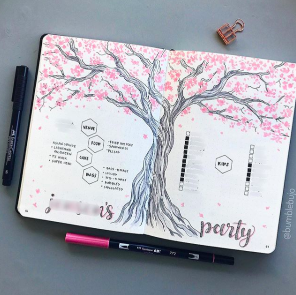 Pink Bullet Journal Spreads Tree