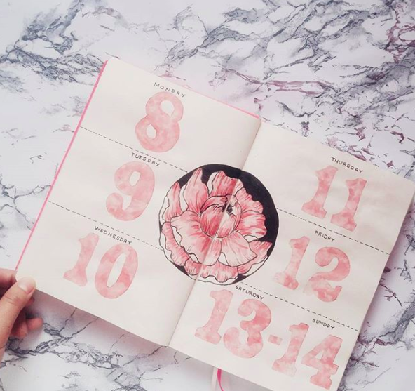 Pink Bullet Journal Spreads Large Flower