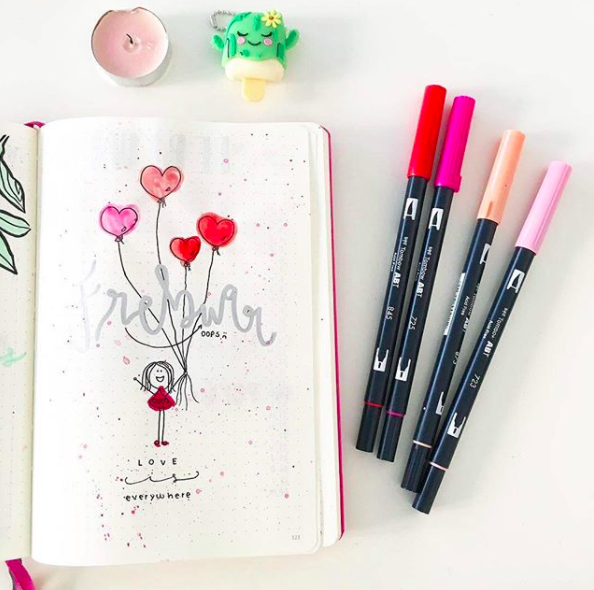Pink Bullet Journal Spreads Heart Balloons