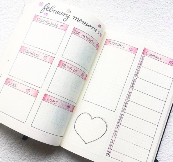 Pink Bullet Journal Spreads Memories