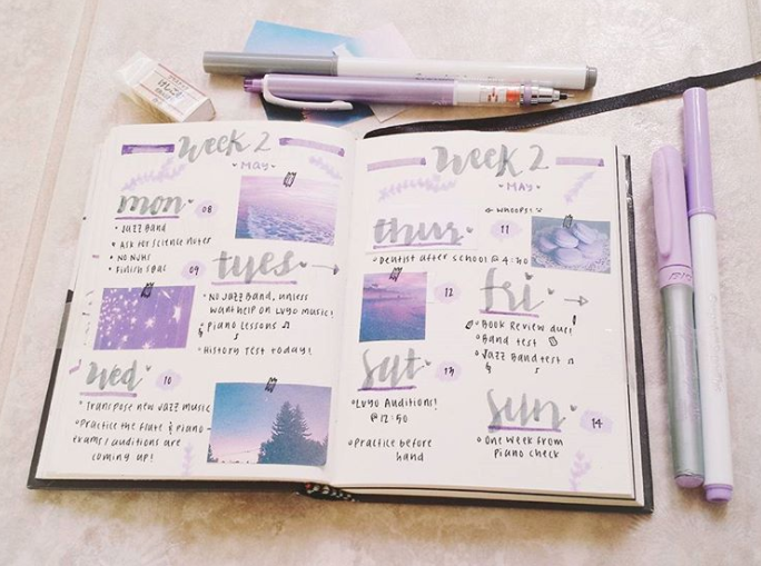 bullet journal weekly spread ideas purple