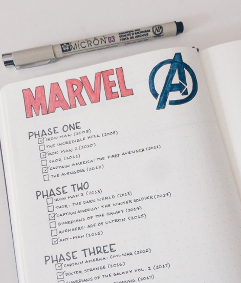 Bullet Journal Tracker Ideas Marvel Movies