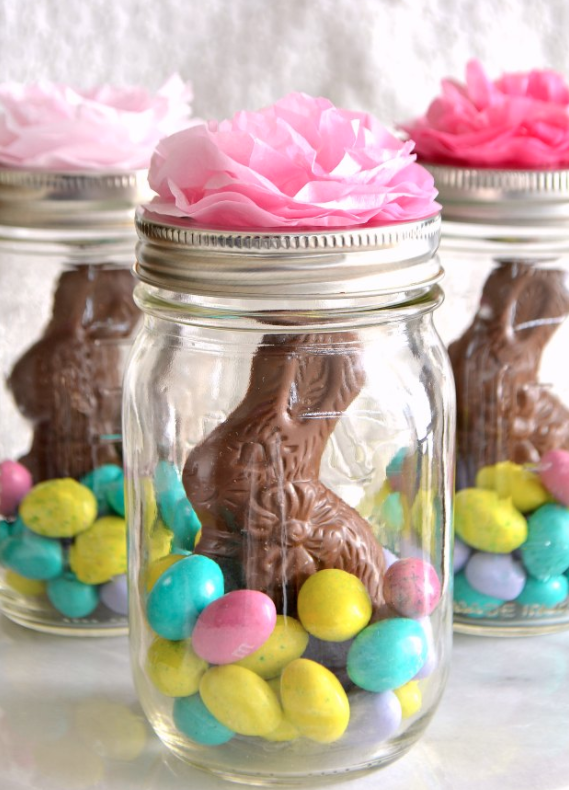 DIY Easter Craft Ideas Tissue Paper Flowers Mason Jar