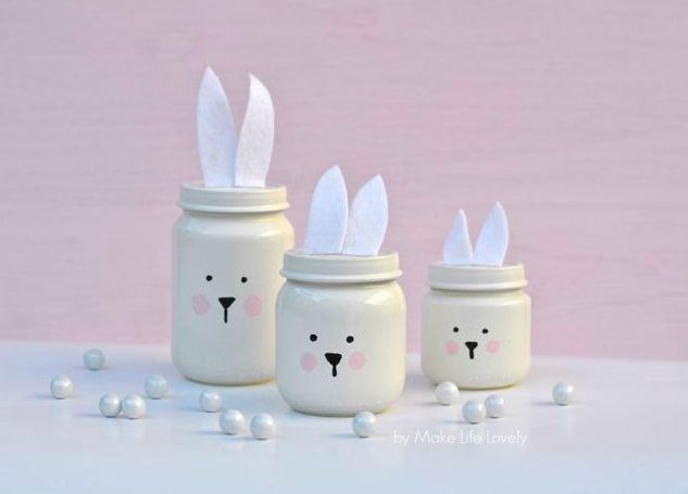 DIY Easter Craft Ideas Painted Easter Bunny Jars