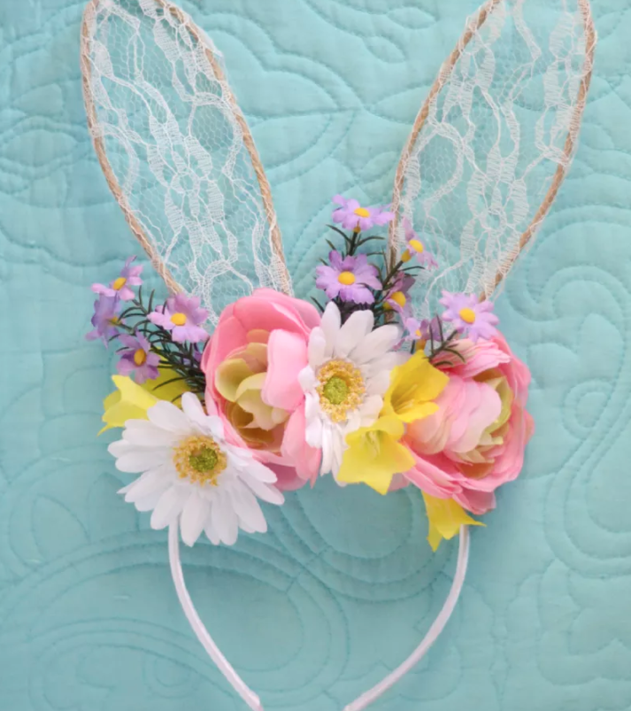 DIY Easter Craft Ideas Floral Bunny Headband
