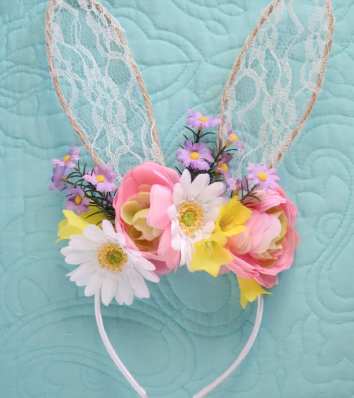 DIY Easter Craft Ideas Floral Bunny Headband