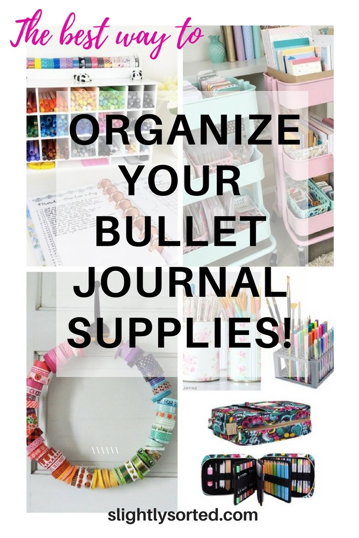 Organize your bullet journal supplies pin