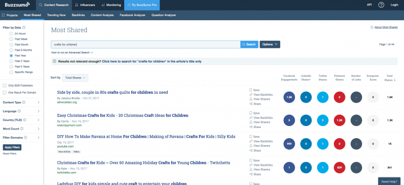 How to choose your blog niche using buzzsumo