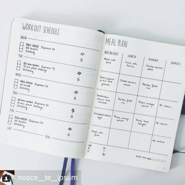 Bullet Journal Workout Schedule