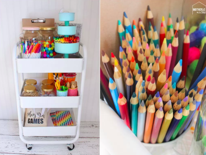 Bullet Journal Supplies Organization White Art Cart