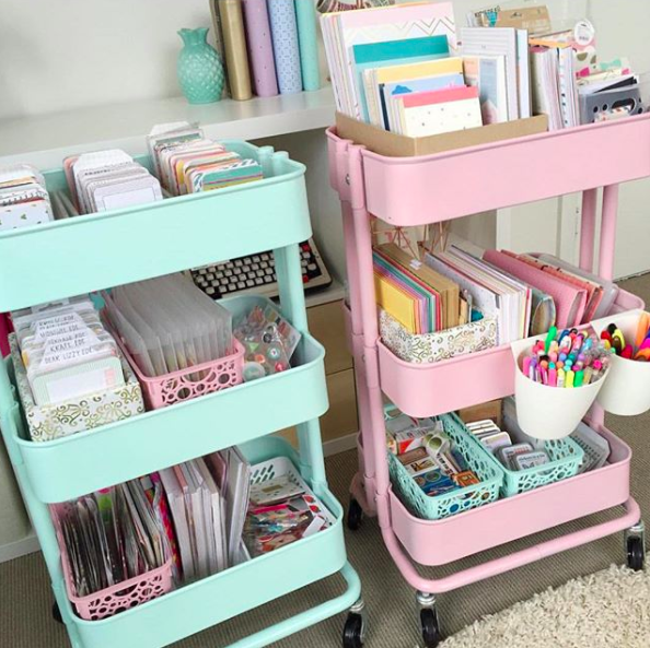 Bullet Journal Supplies Organization Pastel Art Carts