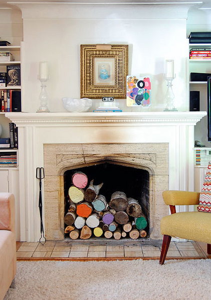 DIY Spring Decor Painted Logs Fireplace