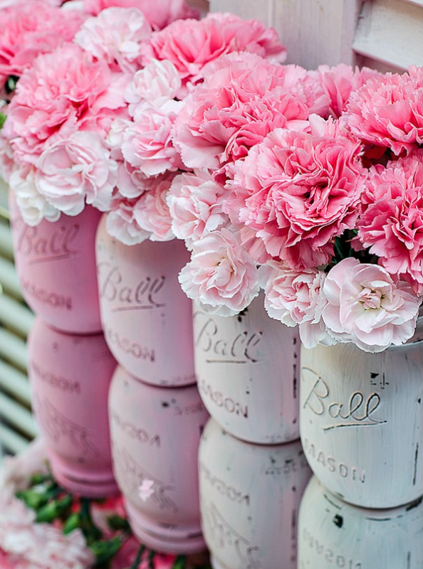 DIY Spring Decor Painted Mason Jars