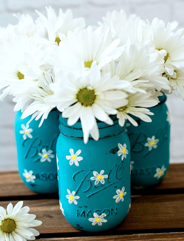 DIY Spring Decor Floral Painted Mason Jars