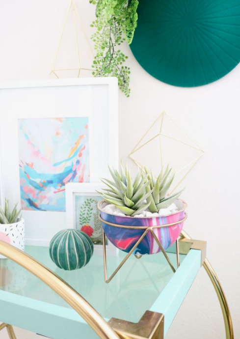 DIY Spring Decor Poured Paint Marble Planter