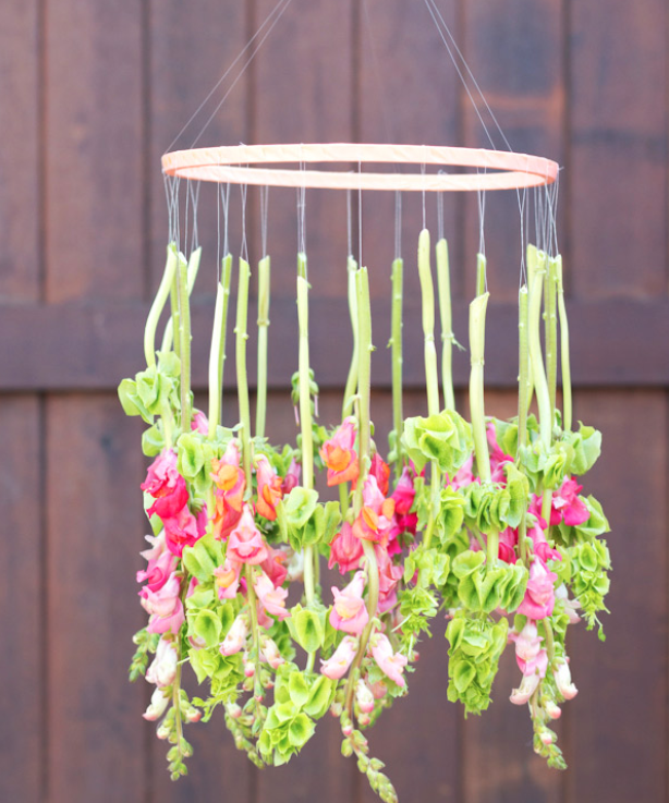 DIY Spring Decor Floral Chandelier