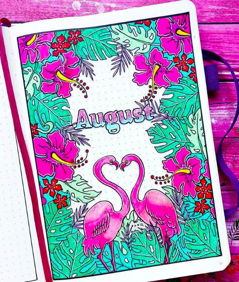 Bullet Journal Monthly Cover Ideas For Summer Flirty Flamingos