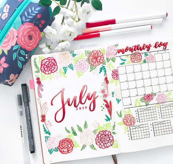 Bullet Journal Monthly Cover Ideas Bright July