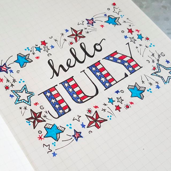 Bullet Journal 4th July Cover Page