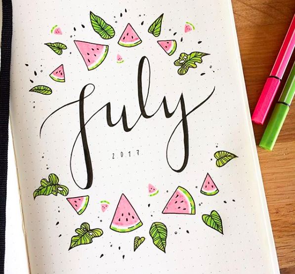 bullet journal page ideas, bullet journal weekly spread, Bullet Journal Cover Page Ideas For July