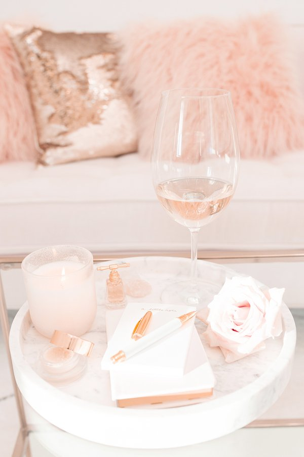 Beautiful pink and gold home decor