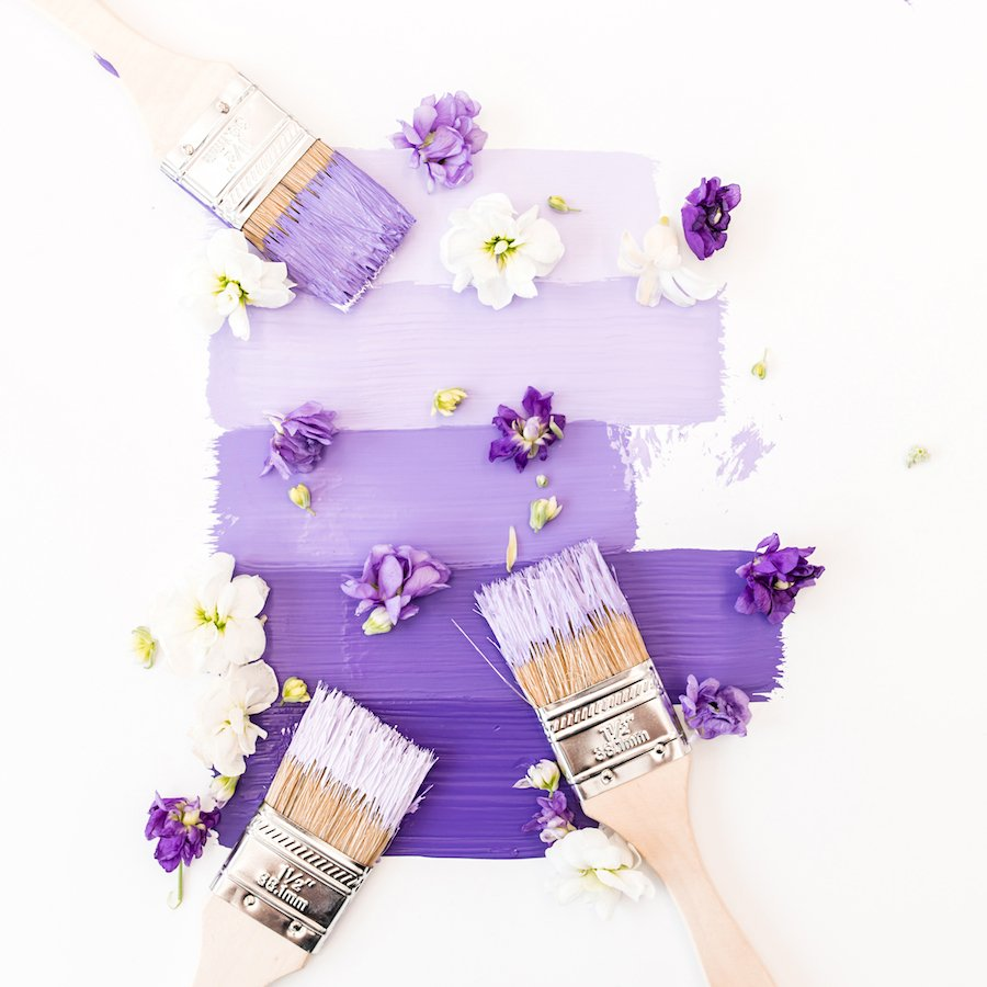 Purple paint and pretty flowers