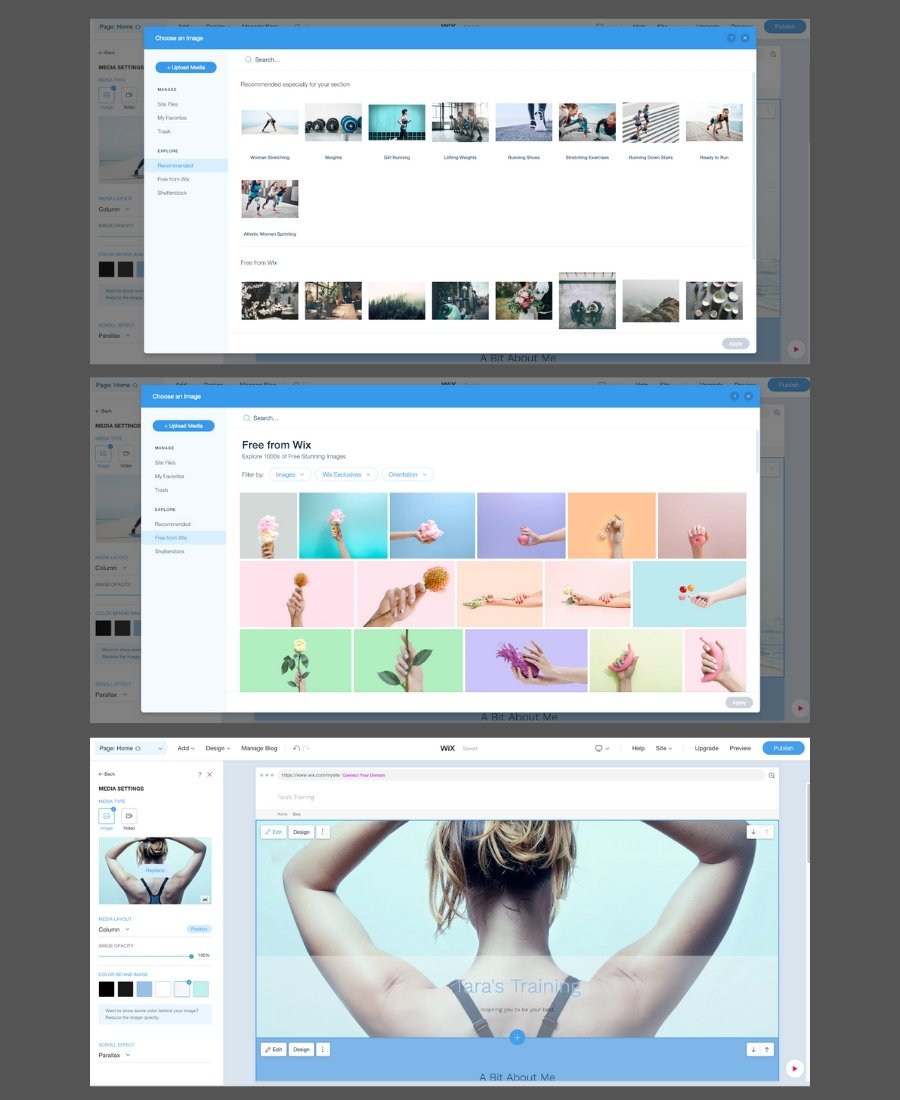 Should you use Wix for your website - screenshot showing quick and easy website setup on Wix with free stock photos