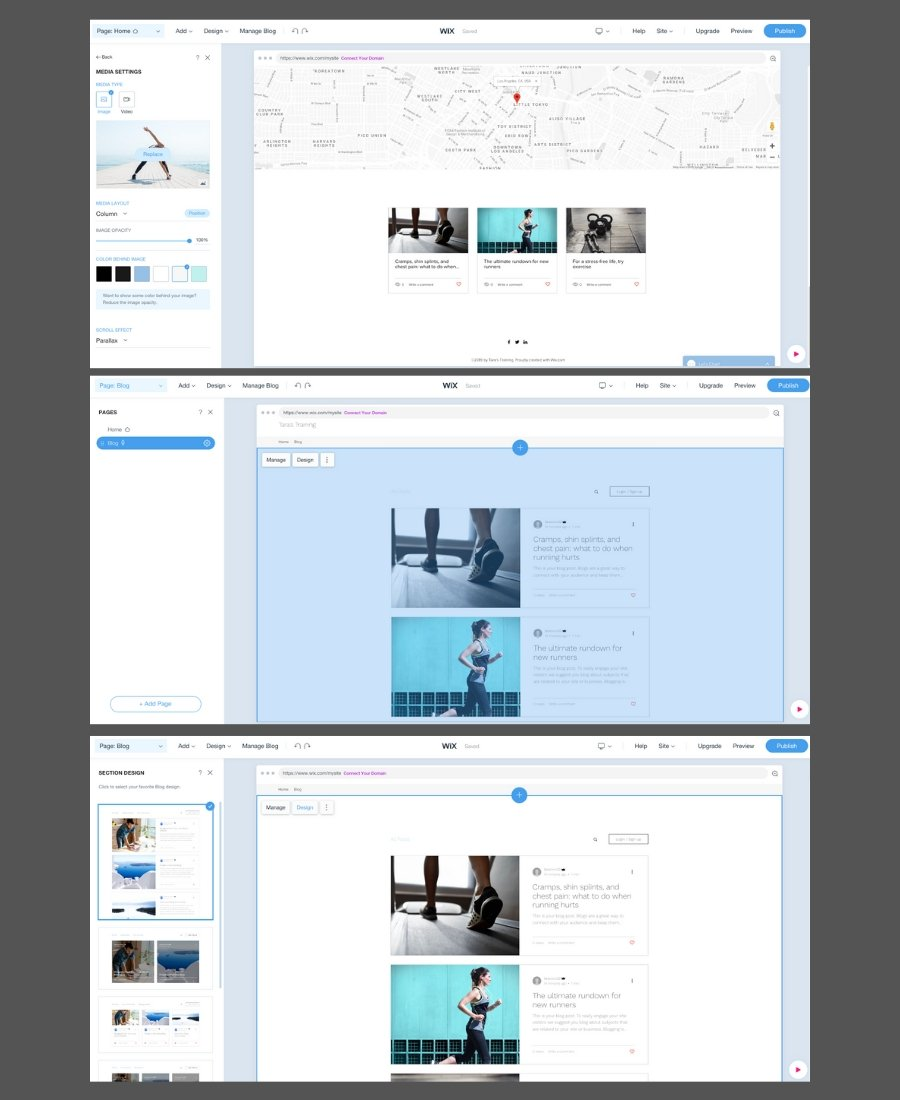 Screenshot showing quick and easy website on Wix with editing screens