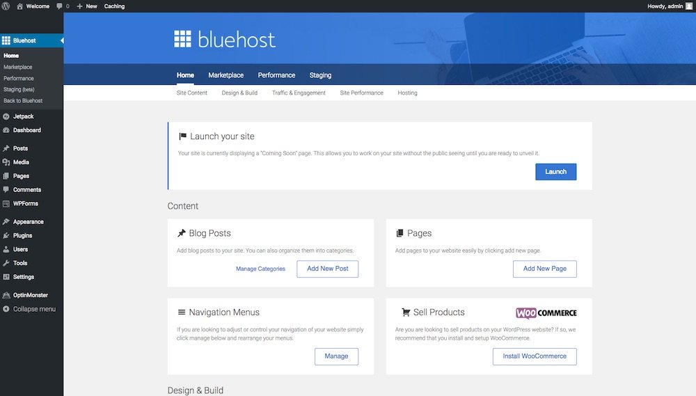 Bluehost launch site screen