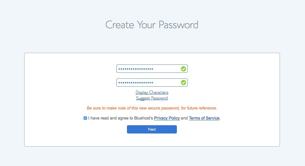 Bluehost password selection screen