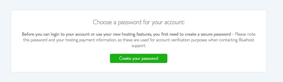 Bluehost choose your password