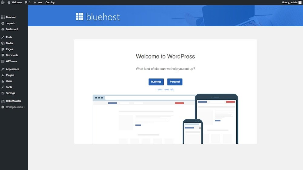 Bluehost welcome to wordpress