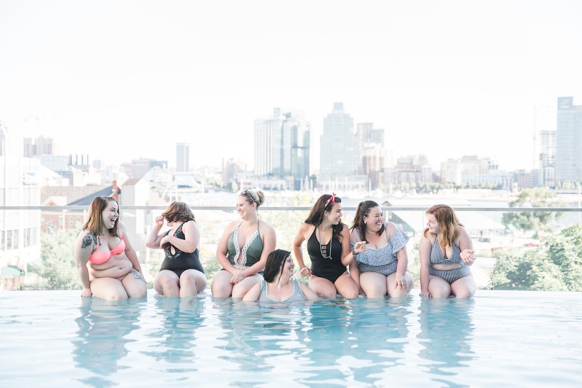 Canva Women in a Pool free stock photo
