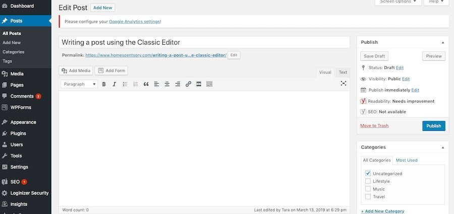 Creating a Post or Page in WordPress Classic Editor