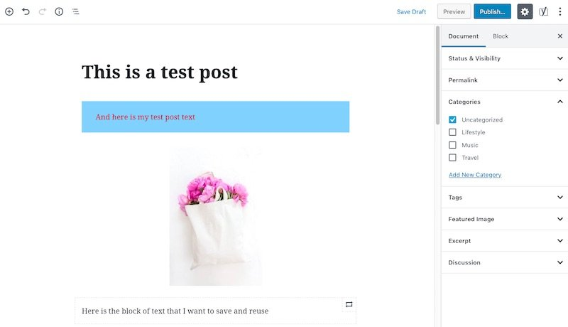 Document settings in a post using WordPress Block Editor