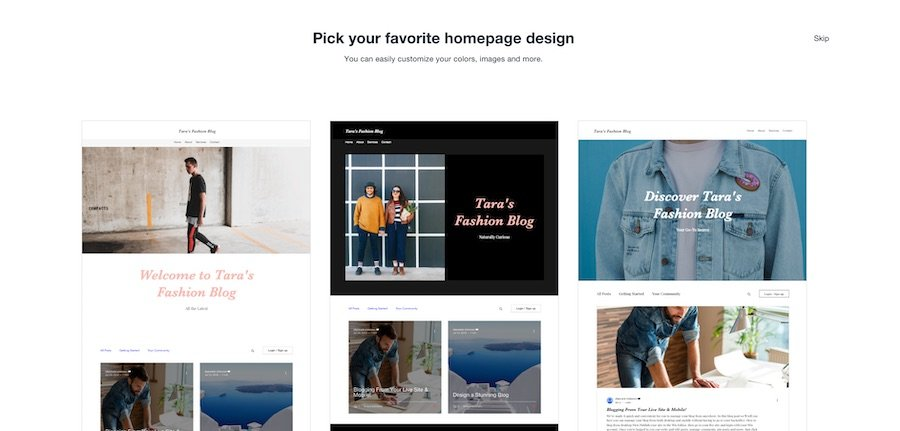 Different styles of blog homepages on Wix