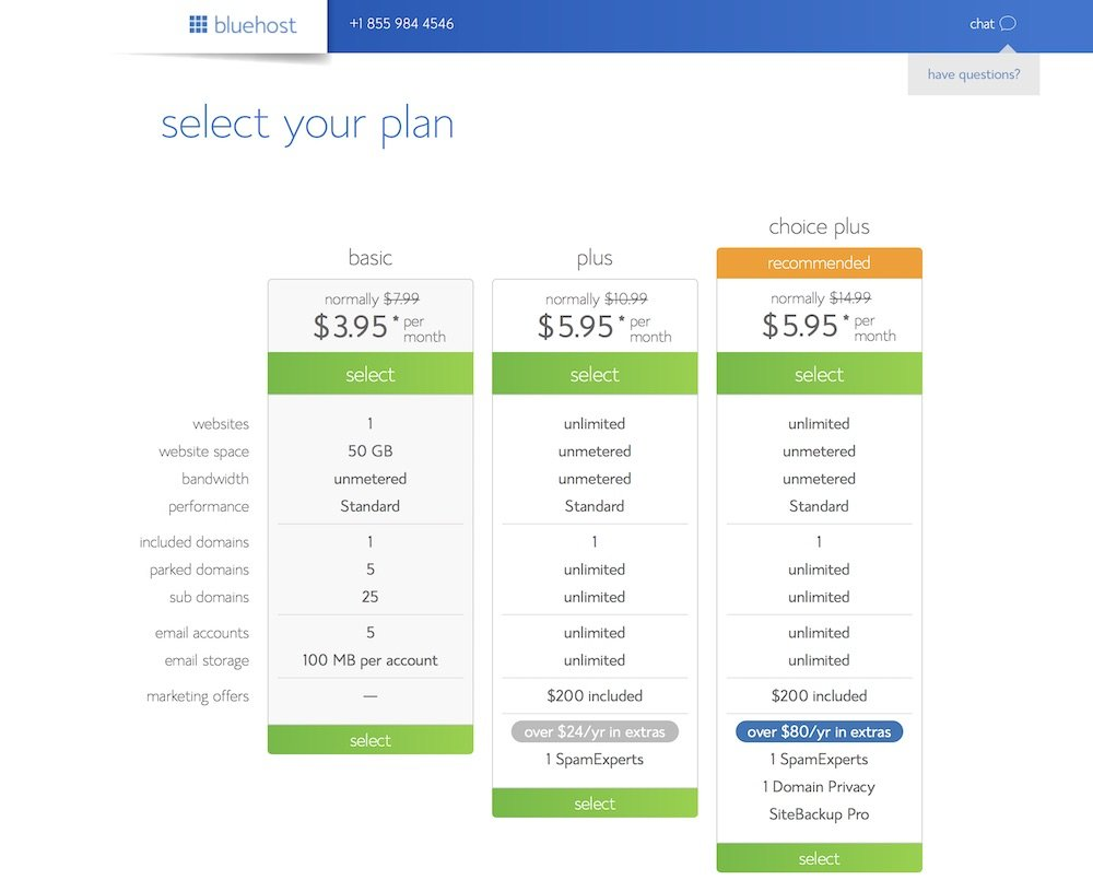 Select Bluehost plan to start your blog