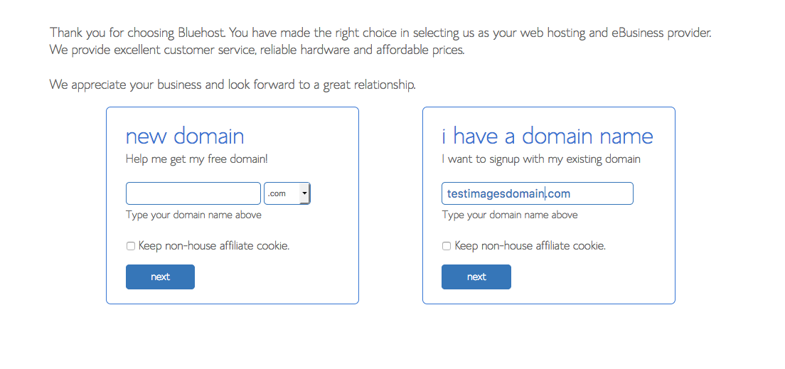 Select your domain to start a blog